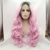 Kylie Jenner dark root synthetic lace front wig body wave long pink ombre hair heat resistant cosplay wig drag queen wig