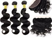 E-forest hair Natural Black 3 Bundles Peruvian Hair Weft Extension + 1 Piece Malaysian hair Free Part 13*4 Top Lace Frontal Closures Virgin Human Hair Body Wave
