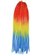 Stepupgirl 50cm Orange Yellow Lake Blue Three Ombre Colour Soft Dread Lock Crochet Synthetic Torsion Braiding Hair