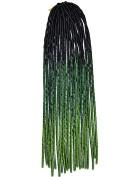 Stepupgirl 50cm Black to Dark Green to Grass Three Ombre Colour Soft Dread Lock Crochet Synthetic Torsion Braiding Hair