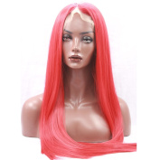 Kalyss 60cm Long Straight Lace Front Wig Red Synthetic Hair Wigs For Women