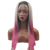Kalyss 60cm Long Straight Women's Lace Front Wig Ombre Wig Black to Grey and Pink Synthetic Hair Wigs