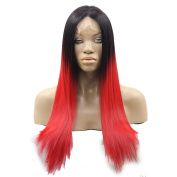 Kalyss 60cm Women's Dark Root Ombre Black to Red Neat Hair Bangs Premium Synthetic Hair Wig