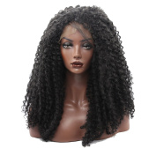Kalyss Women's Afro Bouncy Thick Density Kinky Curly Front Lace Wig Imported Premium Synthetic Hair Wigs For Black Women Black Colour