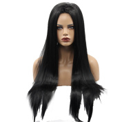 Kalyss Women's Long Straight Black Front Lace Wig 60cm