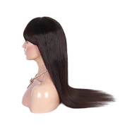 Glueless #1b Colour Virgin Brazilian Hair Straight Lace Front Human Hair Wig with Bangs for Black Women