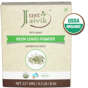 Just Jaivik 100% Organic Neem Leaves Powder - USDA Certified Organic, 227 gms / 0.2kg Pound / 240ml - Azadirachta Indica - Promoting healthy hair and clear skin