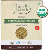 Just Jaivik 100% Organic USDA Certified Henna Powder (Lawsonia Inermis) For Hair Certified by OneCert Asia for USDA Organic Standard 227 Gms / 0.2kg/ 240ml , 100% Natural , No chemical or additive.