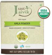 Just Jaivik 100% Organic Amla Powder - Certified Organic by OneCert Asia , 227 gms / 0.2kg Pound / 240ml - Indian Gooseberry - Emblica Officinalis -