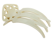 French Amie Handmade Ivory Side Slide Salon Hinge Alligator Jaw Claw Hair Clip Clamp Clasp Clutcher