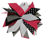 Chicky Chicky Bling Bling Girls Small Pom Pom Hair Bow black grey pink and white