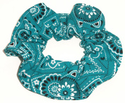 Bandana Print Cotton Fabric Hair Scrunchie Handmade by Scrunchies by Sherry