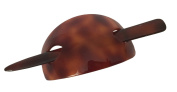 French Amie Oval Arch Shell Brown Handmade Ponytail Holder Hair Updo Bun Cover Cap with Stick