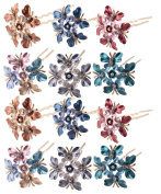 (Pack of 12 Pcs) LiveZone Beautiful Bride Wedding Hair Ornaments Maker Colourful Headdress U Shaped Bobby Pins Rhinestones Hair Pins Stick Forks with Flowers Shape for Women Girls ,Butterfly