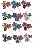 (Pack of 12 Pcs) LiveZone Beautiful Bride Wedding Hair Ornaments Maker Colourful Headdress U Shaped Bobby Pins Rhinestones Hair Pins Stick Forks with Flowers Shape for Women Girls ,Three Flowers