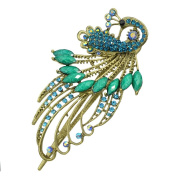 Fashion Vintage Jewellery Crystal Peacock Hair Clips Hairpins