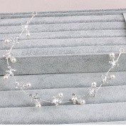 StarDream Alloy Pearl Wedding Silver Headband Hair Vine Hairpiece