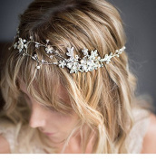 StarDream Pearl Crystal Floral Leaf Wedding Headband Hair Vine with Ivory Organza Ribbons