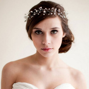 StarDream Pearl Wedding Gold Headband Hair Vine with Ivory Organza Ribbons