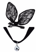 Black Lace Small Clip On Rabbit Bunny Ears + Velvet Bell Choker Fancy Dress Set