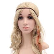 Gilroy Women Boho Style Feather Headband Hippie Weave Hairband Hair Accessory