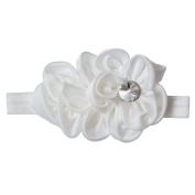 RareLove Baby Girls Headband White Ribbon Flower with Rhinestone Hair Bands Accessories