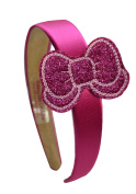 Sparkle Glitter Embroidered Bow Girls Arch Headband By Funny Girl Designs