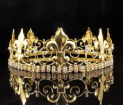 MEN'S KING METAL CROWN CLEAR AUSTRIAN RHINESTONE theatre PROM PARTY C805G GOLD