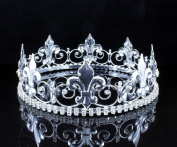 MEN'S KING METAL CROWN AUSTRIAN RHINESTONE theatre PROM PARTY C805S SILVER