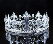 MEN'S KING METAL CROWN AUSTRIAN RHINESTONE theatre PROM PARTY C806S SILVER