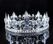MEN'S KING METAL CROWN AUSTRIAN RHINESTONE theatre PROM PARTY C806S SILVER