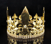 11cm MEN'S KING METAL CROWN AUSTRIAN RHINESTONE theatre PROM PARTY C804G GOLD