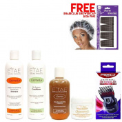 Etae Natural Shampoo, Conditioner, E'tae Carmel Treatment, Buttershine (4 items) w/ Styling Pik w/ Free Cap w/ Free Bob Pins