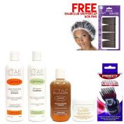 Etae Natural Shampoo, Conditioner, E'tae Carmel Treatment, Buttershine (4 items) w/ Styling Pik w/ Free Cap w/ Free Bob Pins
