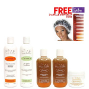 Etae Natural Shampoo, Conditioner, 2 E'tae Carmel Treatment, Buttershine (5 items) w/ Free Cap w/ Free Comb