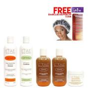 Etae Natural Shampoo, Conditioner, 2 E'tae Carmel Treatment, Buttershine (5 items) w/ Free Cap w/ Free Comb