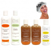 Etae Natural Shampoo, Conditioner, 2 Carmel Treatment, Hair Gloss, Shower Cap