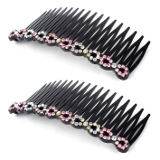uxcell® Women Plastic Rhinestone DIY Hair Style Comb Clip Slide Hairclip 2pcs Pink