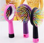 Bestwishes2u 1PCS Rainbow comb anti-static massage comb, comb with mirror