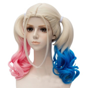 Anogol Hair Cap+ Blue Mixed Pink Fancy Dress Harley Quinn Costume Wig Long Hair Wigs With Ponytails DM-578