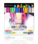 [New Release] GoGirl Beauty Metallic Glitter Temporary Hair Chalk, 6 Colour Pen Hair Chalk Set, Hair Colour Dye for 2-3 Days, Works on All Types of Hair Colour.