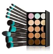 Concealer ,Vovotrade 10pcs Makeup Brushes Set Powder Foundation Eyeshadow Tool +15 Colours Concealer