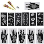 BMC 14pc Mehndi Henna Tattoo Body Art Starter Kit - 2 Colour Cones w/ 12 Template Stencils