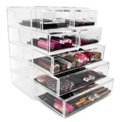 Vencer® Acrylic Cosmetics Makeup and Jewellery Storage Case Display- 3 Large and 4 Small Drawers Space- Saving, Stylish Acrylic Bathroom Case
