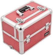 Craft Accents Aluminium Cosmetic Makeup Case, Hot Pink Crocodile, 3310ml
