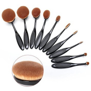 BeautyKate Set of 10 pcs Professional Oval Toothbrush Makeup Brush Set (Black) - Super Soft Cosmetics Foundation Blending Blush Eyeliner Face Powder Brush