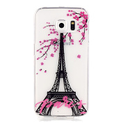 UCLL S6 Edge Case, Glaxy S6 Edge Stunning Soft Clear Cover, Romantic Paris Tower Design Case for Samsung Galaxy S6 Edge with a Screen Protector