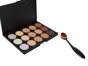 Gospire 15 Colours Professional Foundation Concealer Camouflage Contour Palette Eye Face Cream Makeup Palette with Oval Make up Brush Cosmetics