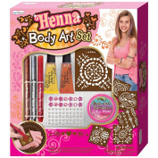 Do-It-Yourself DIY Shimmer Body Paint Henna Stencil Pen and Jewels Art Set