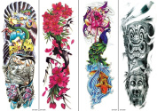 QINQIN 4 Sheets Extra Large Temporary Tattoos Body Art Tattoo Stickers, Full Arm, Witch, Flowers, Buddha, 15cm X 46cm
